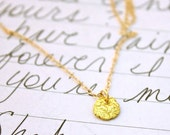 recycled gold necklace . rustic 22k gold necklace . quote jewelry . ethical gold necklace . ready to ship . free shipping