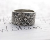wide paisley wedding band . wide recycled silver wedding band . bohemian paisley ring . engraved enlighten inscription ring