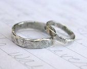 recycled silver wedding band ring set . custom rustic wedding rings with inscription . river rock wedding ring