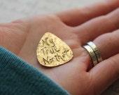 SALE my true north guitar pick . recycled bronze woodgrain guitar pick . arrow pierced heart . faux bois . ready to ship gift