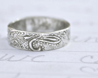paisley recycled silver band . bohemian paisley wedding ring band engraved my beloved is mine .  rustic wedding