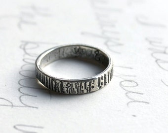 mens recycled silver tree bark ring band . thin woodgrain ring . custom ring with personalized inner message