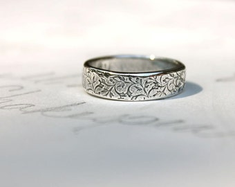 mens wedding band ring . thick recycled silver ring . happily ever after vine leaf ring . engraved words inside by peacesofindigo