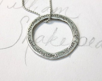hafiz quote circle necklace .  bohemian eternity necklace . tudor rose love necklace . sterling silver engraved message . ready to ship