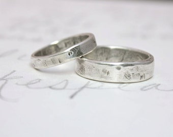 rustic wedding band ring set . custom recycled silver wedding rings and inscription . simple relic wedding rings