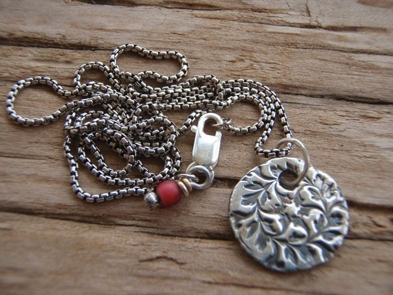 reserved . seek recycled silver pendant necklace . handwritten inscription . antique trade bead dangle