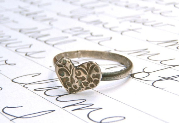 for the fabulous J . recycled silver heart ring . love token . textured fine silver medallion . sterling band . custom made in your size
