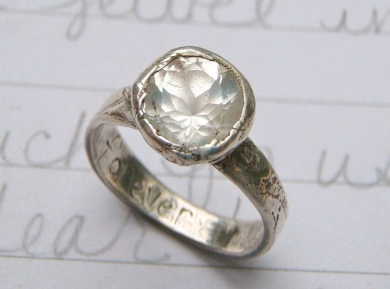 2 carat Herkimer diamond and recycled silver engagement ring .  textured band . forever inscription