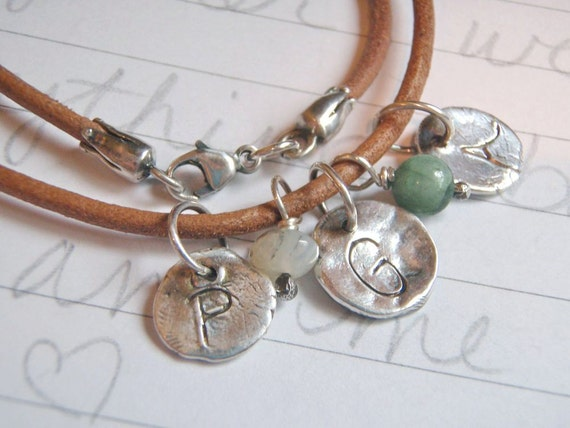 personalized custom bracelet . leather and silver initial charm bracelet for mom . artisan recycled silver initial charms by peacesofindigo