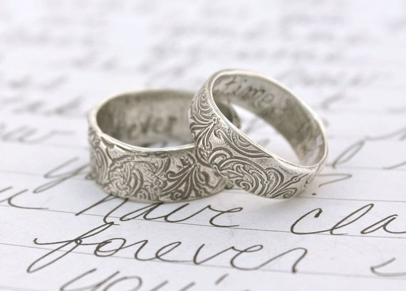 reserved for L . recycled silver wedding band set . once upon a time ring . recycled silver wedding ring set by peacesofindigo