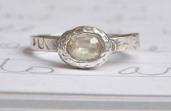 oval Herkimer diamond engagement ring .  herkimer diamond recycled silver ring . made to order