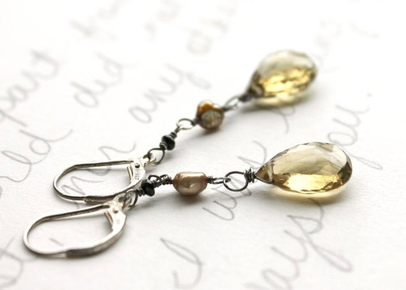golden quartz and black spinel earrings . pearl quartz and spinel fashion earrings . limited edition . free shipping . ready to ship