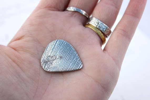 sale wild and free guitar pick . sterling silver love token plectrum . engraved heart and arrow inspirational valentine gift ready to ship