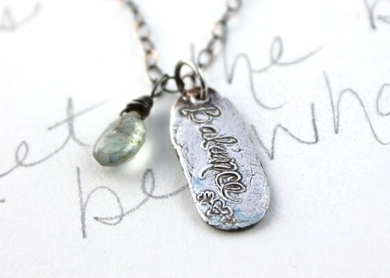 balance paisley charm necklace . recycled silver pendant necklace with pearl and moss aquamarine . inspirational jewelry