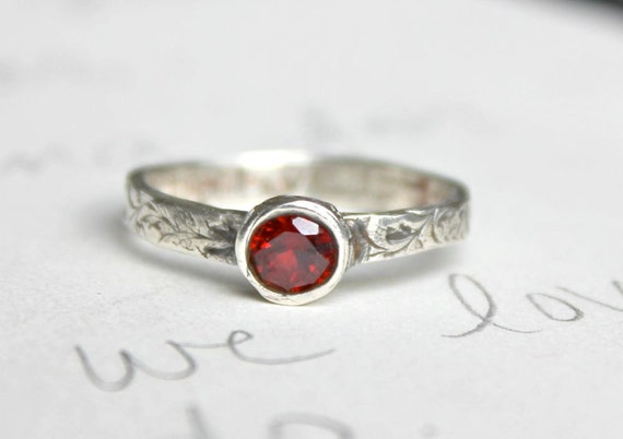 reserved for the fabulous ms C . garnet stacking ring . free shipping . recycled silver vine ring by peacesofindigo