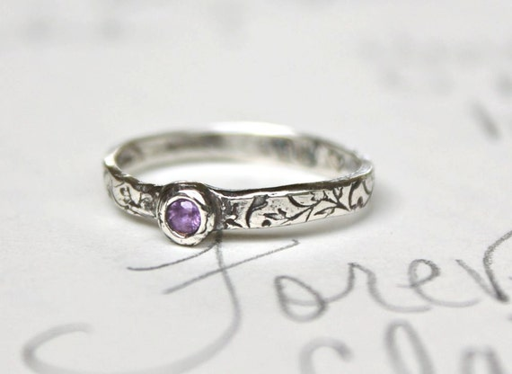 sapphire engagement ring . simple engagement ring . purple . custom personalized . recycled silver . secret message