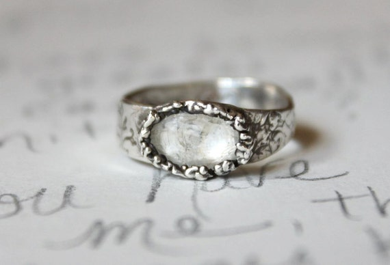follow your heart ring . recycled silver and tourmaline ring . follow your heart secret inscription handwritten inside
