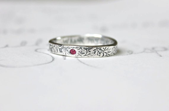 thin ruby wedding band ring . skinny recycled silver stacking ring . engraved personalized simple vine band by peacesofindigo