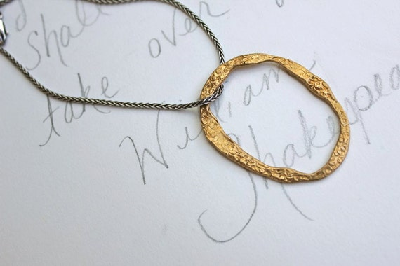 eternity necklace .  artisan aged bronze circle necklace . bohemian mixed metal jewelry . woven sterling silver chain