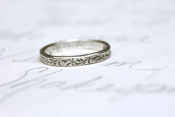 reserved for the fabulous M . recycled 18k white gold skinny wedding ring with vines . thin wedding band . custom ring by peaces of indigo
