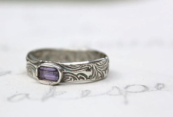purple sapphire engagement ring . fair trade sapphire ring . size 6 .75 engraved balance secret message by peaces of indigo