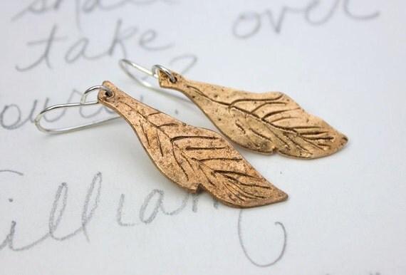 SALE . golden feather dangle earrings . bronze talisman feather earrings . boho feather earrings by peaces of indigo