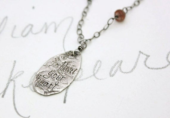 bohemian sapphire necklace . boho follow your heart talisman necklace . engraved inspirational silver jewelry . free shipping