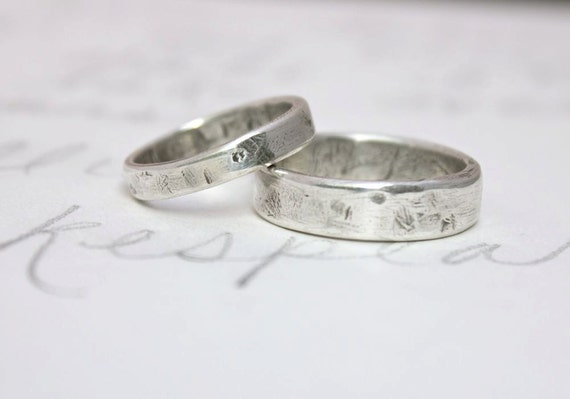 rustic wedding band ring set custom recycled silver wedding rings and inscription simple relic - Simple Wedding Ring Sets