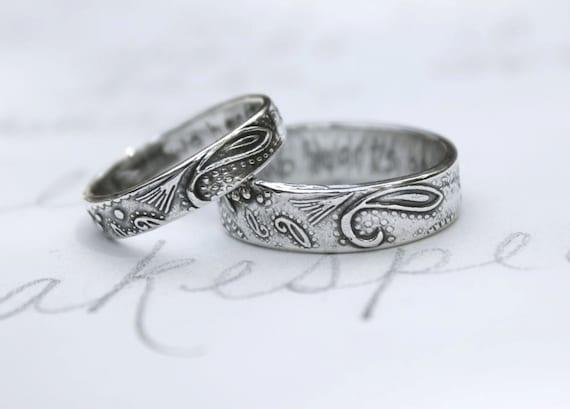 items similar to bohemian paisley wedding band ring set custom recycled silver wedding rings and inscription textured wedding rings on etsy - Bohemian Wedding Rings