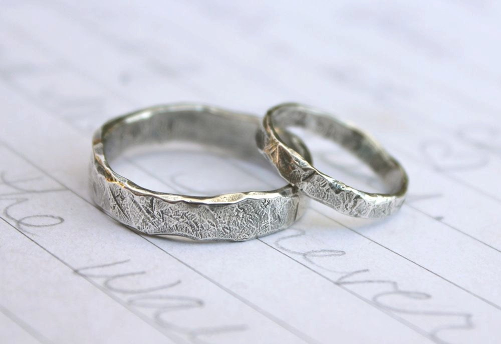Recycled Silver Wedding Band Ring Set Custom Rustic