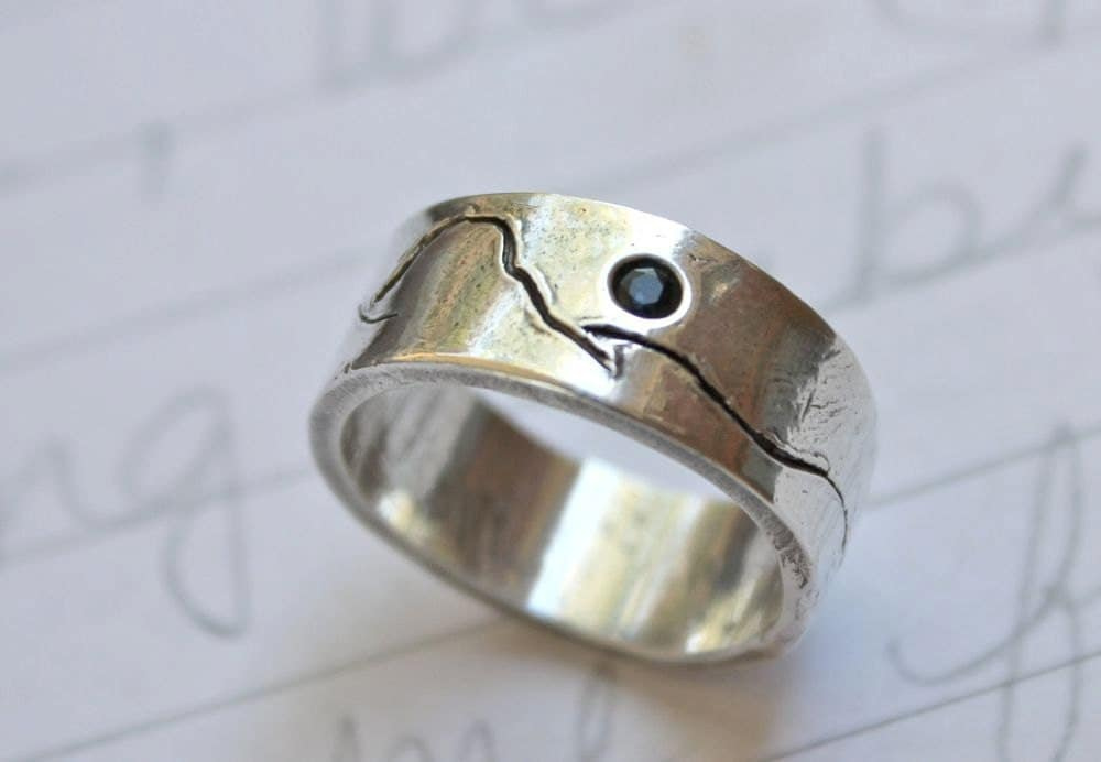 Custom Recycled Silver Wedding Band Eco Friendly Engraved