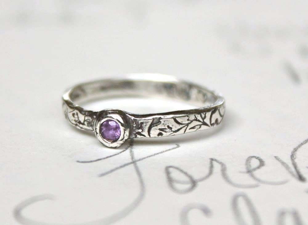 sapphire engagement ring simple engagement ring purple