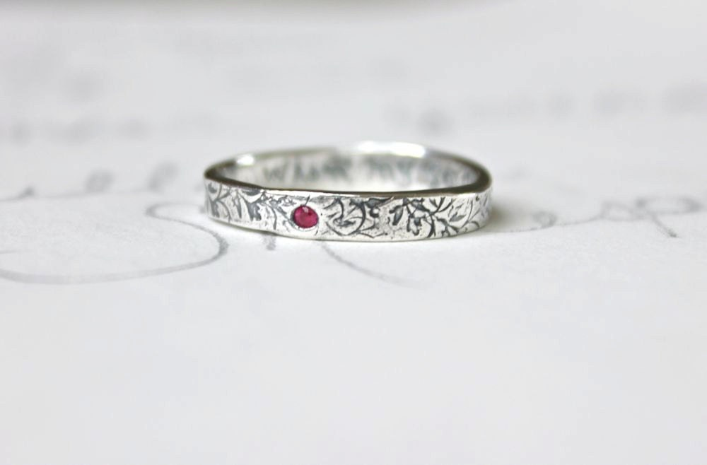 thin ruby wedding band ring skinny recycled silver stacking