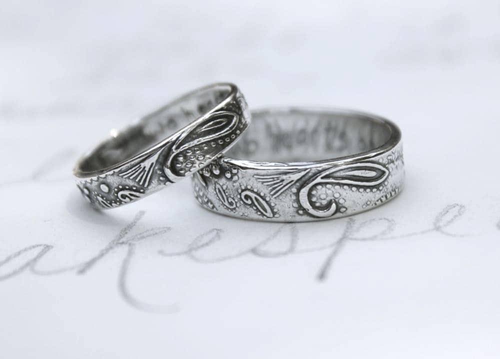 bohemian paisley wedding band ring set custom by peacesofindigo