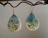 teal blue jumbley porcelain teardrop earrings