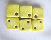 Square Pottery Bead Bright Yellow