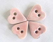 Pale Pink Heart Pottery Button
