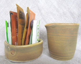 Cream and Sugar Packet Set Warm Brown Pottery by Centered ClayWorks