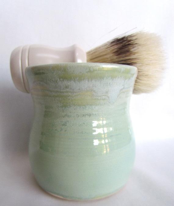 Shaving Mug with Soap Set Seafoam Green