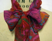 Silk Headscarf  - MAGENTA RED PAISLEY - FREE SHIPPING UNTIL AUG 15