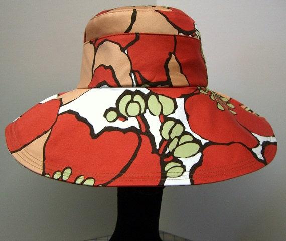 Wide Brim Sun Hat -  POPPY - SALE  TO AUG 15