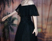 50s Cocktail Dress On / Off shoulder Black Lace Lolita Holiday party wear size M / L