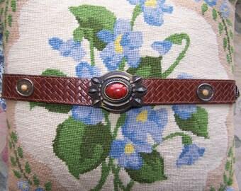 Leather belt decorative amulets size M