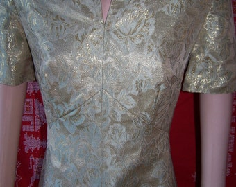 Gold Dress metallic Jacquard holiday dress size L