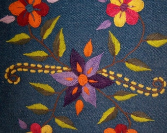 Boho Bag Blue Embroidered Flowers SALE Reduced Price
