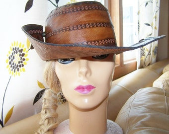 Tooled Leather Hat, Festival Hat, Boho Hat,  Peru Hat, Brown Leather hat, South American Hat