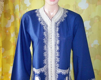 Moroccan tunic embroidered blouse royal long sleeve size L
