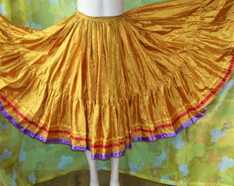 Gypsy Skirt, Festival skirt, Circle skirt, Gold satin skirt, Showgirl skirt, Dance skirt,  size XS
