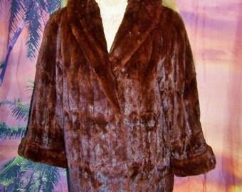 FUR Swing Jacket Luxe Mahogany Sheared China Mink size M / L