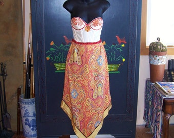 Corset Dress, Gypsy dress, Strapless dress, Festival dress, Sequin Floral dress, Size S / M, size 34